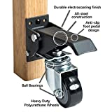 Heavy Duty Retractable Workbench Casters | Durable All Steel Electrocoating Finish | Anti-Slip Foot Pedal | 4 Pack (400lbs) | Locking Worktable Caster wheels Kit | 360 Swivel Casters