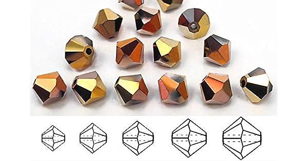 Cristal Checo Mc Cuentas Bicónicas Rondell//Diamante Jet California Golden Rush oro
