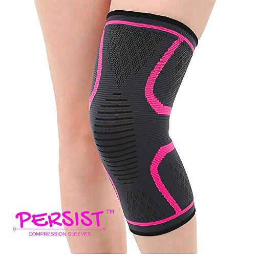 Persist Knee Compression Sleeve for Indoor Sports, Outdoors Sports, Pain Relief (Large)