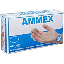 AMMEX - VPF - Medical Vinyl Gloves - Exam, Disposable, Powder Free, Latex Rubber Free, 4 mil, Clear Vinyl Gloves