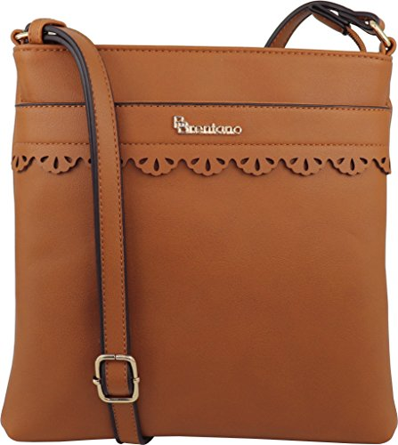 B BRENTANO Vegan Medium Crossbody Handbag Purse (Tan(N))