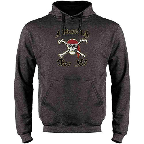 Pop Threads A Pirate's Life for Me Halloween Costume Skull Heather Charcoal Gray L Mens Fleece Hoodie -