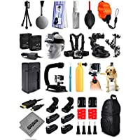 Opteka X-Grip Stabilizer + Floating Strap + Cleaning Kit + 2x Batteries + Travel Charger + Car Suction Cup + Backpack + Chest Strap + Head Strap + More For GoPro Hero4 Cameras
