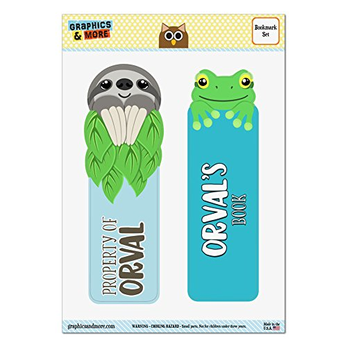 set-of-2-glossy-laminated-sloth-and-frog-bookmarks-names-male-oa-oz-orval
