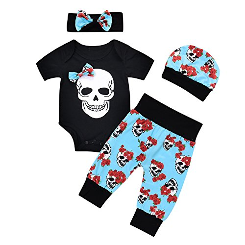 puseky 4pcs Newborn Baby Boys Girls Skull Romper+Pants+Hat+Headband Halloween Outfits (0-6 Months, Black+Blue)]()