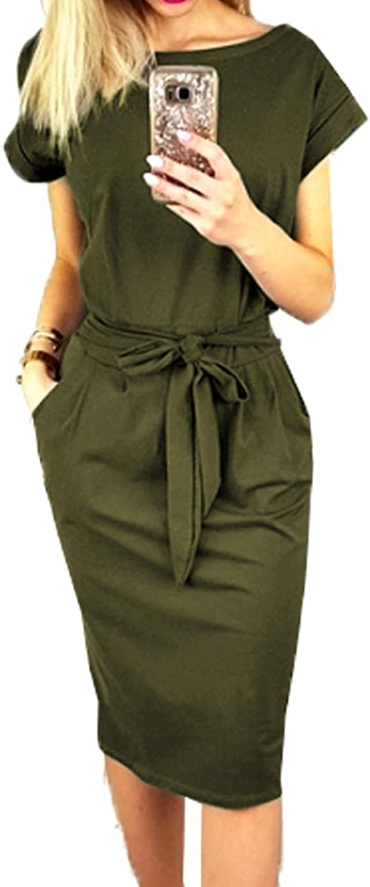 PRETTYGARDEN Ladies Basic Crewneck Belted Office Dress with Pockets Solid Color Sexy Short Sleeve Party Slim Dress