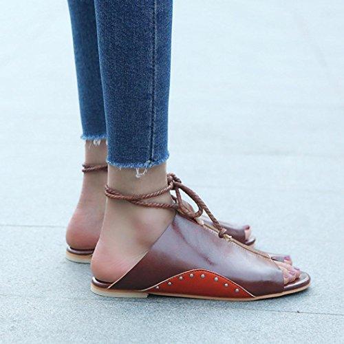 Women Flat-bottomed Roman Breathable Sandals Open Ankle Wrap Straps Platform Wedges Flip Flops Unique Travel Wlking Shoes Comfortable Wear Skin Protected Sun Block Brown C57tOjNEnd