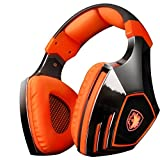 BliGli 2.4Ghz Optical Noise Cancelling USB Wireless Gaming Headphones for XBOX 360,XBOX ONE,PS4,PS3,PC with Detachable Microphone (A60 Orange)