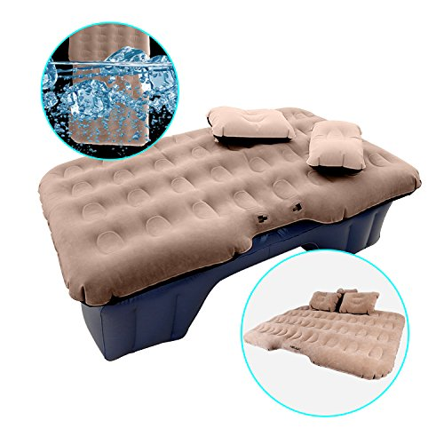 HIRALIY Car Inflatable Mattress Portable Travel Camping Air Bed Foldable Couch with Electric Pump (Air Mattress For Toyota Tacoma Short Bed)