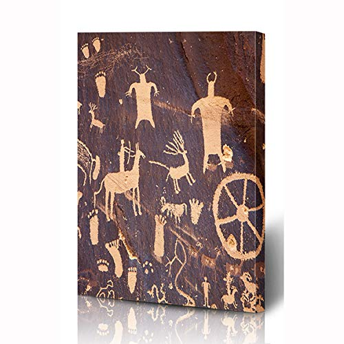 Ahawoso Canvas Prints Wall Art 8x10 Inches American Navajo Petroglyphs Newspaper Rock Near Indian Creek Anasazi Parks Utah Ancient Cave Wooden Frame Printing Home Living Room Office Bedroom