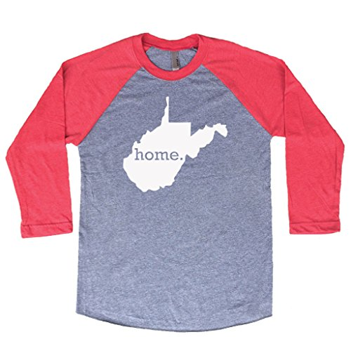 Heathered Raglan T-shirt (Homeland Tees West Virginia Home 3/4 Length Baseball Style Raglan T-Shirt X-Large Red/White)