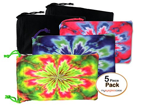 MyEyeglassCase 5X microfiber sunglasses glasses gadgets cleaning & storage pouch (Tie Dye Mix) by MyEyeglassCase