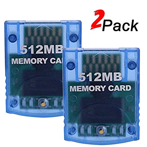 Mekela 2 Packs Memory Card 512MB (8192 Blocks) for Nintendo Wii Gamecube NGC GC (Blue and Blue) (Best Memory Card For Wii)