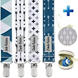 Pacifier Clip by Dodo Babies Pack of 4 + Pacifier Case
