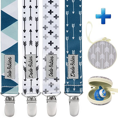 (Pacifier Clip by Dodo Babies Pack of 4 + Pacifier Case, Premium Quality Modern Designs Universal Holder Leash for Boys and Girls, Teething Toy or Soothie, Baby Shower Gift)