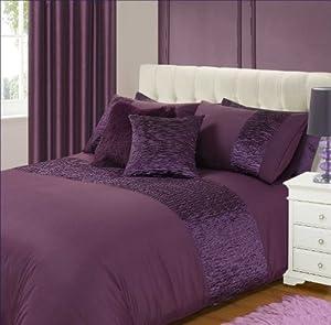 king size bed freya duvet quilt cover bedding set pleated purple aubergine plum plain. Black Bedroom Furniture Sets. Home Design Ideas