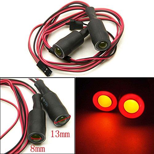 Que-T 13mm 2 Leds Angel Eyes & Demon Eyes LED Headlight /Back Light for 1:10 RC Model Crawler Cars, (Red + Yellow, 13MM)