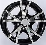 TWO (2) Aluminum Sendel Trailer Rims Wheels 5 Lug 15'' T07 V-Spoke/Black Style