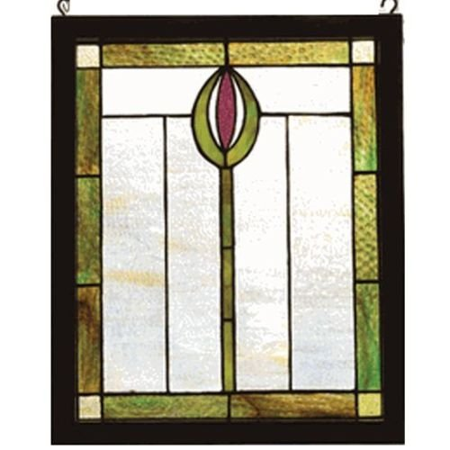 "Meyda Tiffany 98100 Spear Wood Frame Stained Glass Window, 14"" Width x 17"" Height from Meyda"