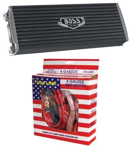 BOSS AR3000.2 3000W 2-Channel Car Audio Amplifier Power AR30002 + 4 Ga Amp Kit