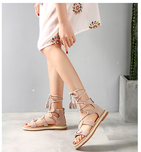 shoes apricot strap fringe women's rope Roman open straw toe leather Summer sandals with ShangYi flat BqT1p
