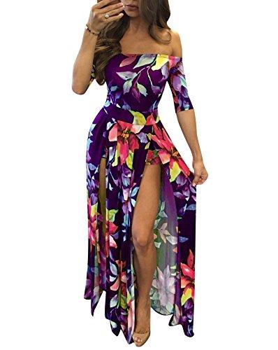 Purple Slit Sexy Women's Dreamparis Prints Floral Maxi Long Dresses Side q1zfSt