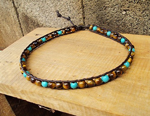 Turquoise Tiger - Tiger eye anklets,turquoise anklets,leather anklets,brown anklets,men bracelets,women anklets,fashion anklets