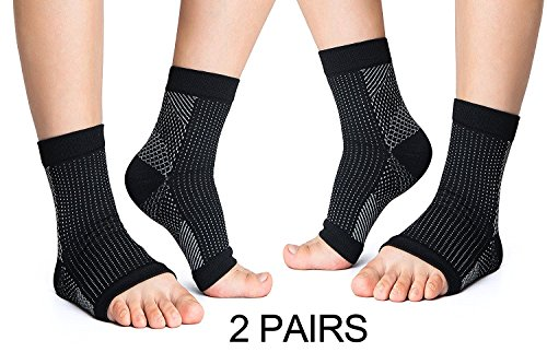 VakerZon 2 Pair Compression Ankle Brace Foot Sleeve-Relieves Achilles Tendonitis,Foot Sock with Arch Support Reduces Swelling & Heel Spur Pain Injury Recovery for Sports (L/XL, Black)