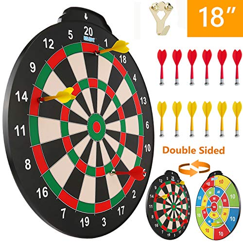 Esjay Magnetic Dart Board Set, Safe Dart Game for Kids, Best Boy Toys Gift Indoor Outdoor Game with 12 Darts, Double Sided 18 inch Large Size Dartboard from Esjay