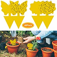 YHmall 48Pcs plug-in fly trap yellow plates yellow sticker protection plant from the mosquito aphids, leaf flies and...