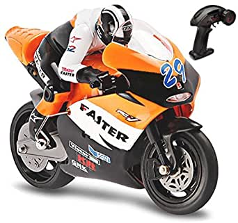 Top Race 4 Channel RC Remote Control Motorcycle Goes on 2 Wheels with Built in Gyroscope, 1:10 Scale