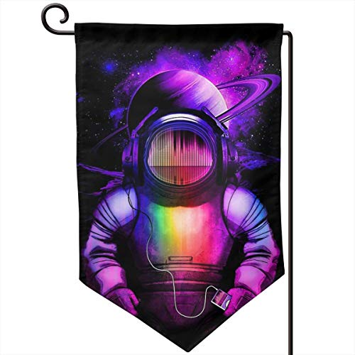 Private Bath Customiz Music in Space Astronaut Rainbow Welcome Garden Flag Seasonal Spring Summer Outdoor Decorative Flags for Yard Lawn 12.5 X 18 Inch -