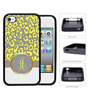Customized Yellow and Gray Leopard Pattern Animal Print with Gray and White Vertical Stripes on Bottom and Yellow Gray Round Monogram in Center Outlined in Gold Rubber Silicone TPU Cell Phone Case Apple iPhone 4 4s