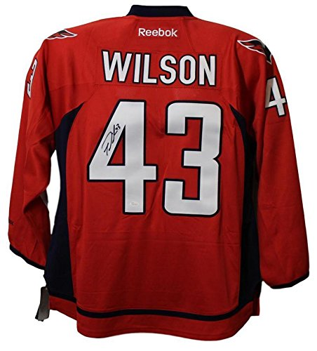 Authentic Blue Jersey Autographed Reebok (Tom Wilson (Toronto Blue Jays) Autographed Jersey - Washington Capitals Reebok Red XL - JSA Certified)