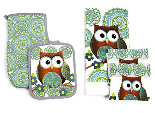 Lobyn Value Packs Kitchen Towel 5 Piece Linen Set 1 Towel 1 Pot Holder 1 Oven Mit 2 Dish Cloths (Owls)