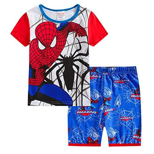 Pajamas Children Clothes Set Little Kids Short Sleeve Spiderman Sleepwear 2-7 Years Boys Pjs,Spiderman-100(4T) (Spider Man Spider Man 2 Spider Man 3)