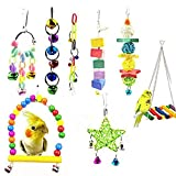 8 Pack Bird Parrot Toys, Colorful Bird Chewing Toys Swing Toy Hanging Toy Bird Cage Toys or Small Parakeets Cockatiels, Conures, Macaws, Parrots, Love Birds, Finches