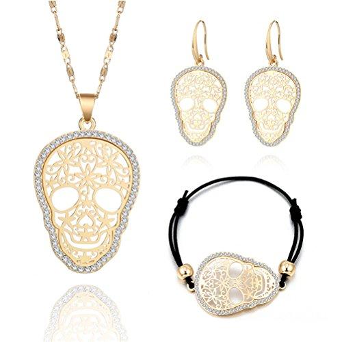 (Mrsrui Punk Skull Necklace Jewelry Set Earrings Leather Bracelet Birthday for Women Girl )