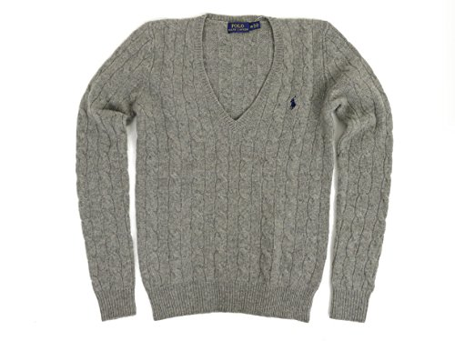 Polo Ralph Lauren Women's Merino Wool Cashmere Cable Sweater (XL, Fawn Grey) (Polo Ralph Sweater Lauren Cable)