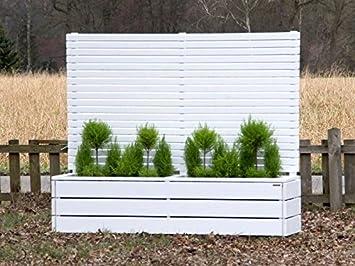 Pflanzkasten Holz lang mit Sichtschutz, Deckend Geölt Weiß ...