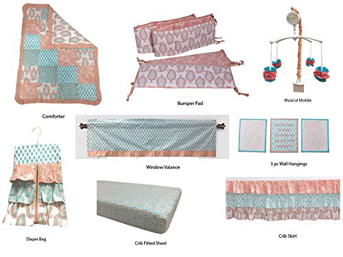 Bacati Sophia Paisley Girls 10 Piece Nursery-in-A-Bag Crib Bedding Set with Bumper Pad, Coral/Aqua