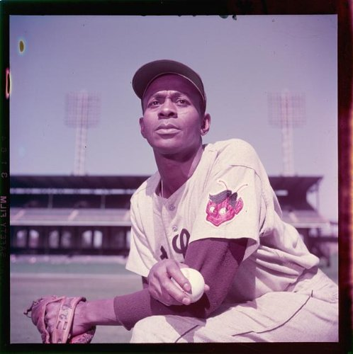 (Photo: Satchel Paige,St Louis Browns,pitcher,African American,baseball,sports,1952)