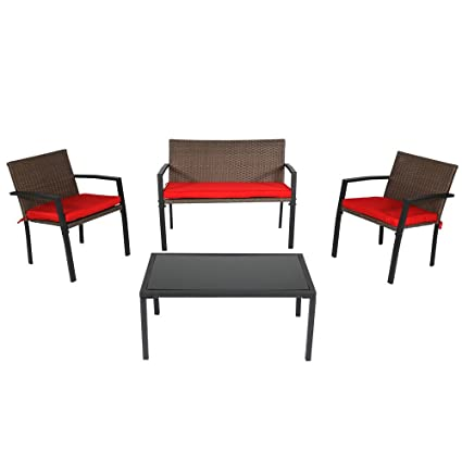 Sunnydaze Kula 4-Piece Outdoor Wicker Rattan Patio Furniture Lounger Set with Red Cushions