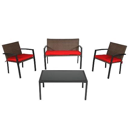 Amazon.com: sunnydaze Kula 4-Piece Set de muebles de ratán ...