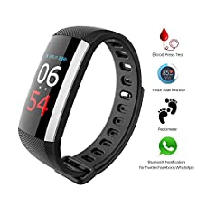 Fitness tracker, smart bracelet waterproof watch smart watch multi-function [heart rate monitor + pedometer + blood pressure measurement + sleep detection] touch operation Bluetooth 4.0 IP67 waterproof phone SMS notification iPhone iOS Android
