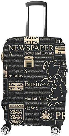 スーツケースカバー 英国の新聞 伸縮素材 キャリーバッグ お荷物カバ 保護 傷や汚れから守る ジッパー 水洗える 旅行 出張 S/M/L/XLサイズ
