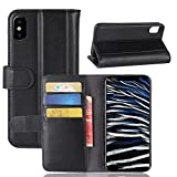 iPhone X Case,Cover Case Slim Premium PU Leather Wallet Case Case Slim with Kickstand and Credit Card Slot Cash Holder Flip Case Compatible with iPhone X Black