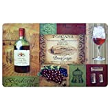 wine and grapes kitchen rugs - Ustide Laundry Room Floor Rug Vintage Kitchen Rug Wine and Grape Pattern Rug Waterproof Rug, No Clean, Non-skid Floor Mat