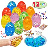 12 PCs Iridescent Silly Fluffy Slime Clear Colorful Putty with Accessories for All Ages Kids, Stress Relief Sludge Toys Prefilled Easter Theme Party Favor Supplies, Basket Stuffers, Great Family Games