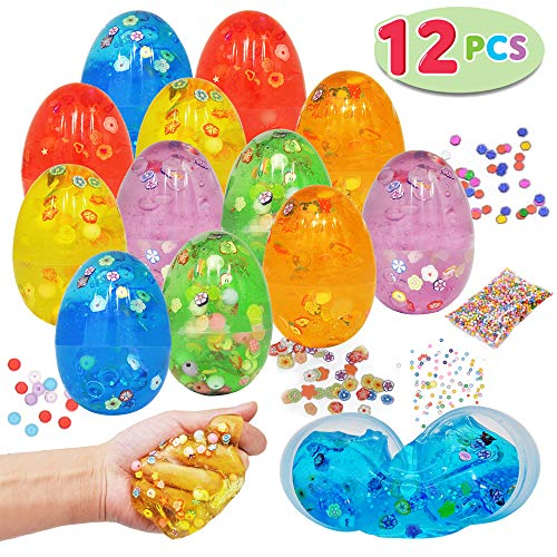 12 PCs Iridescent Silly Fluffy Slime Clear Colorful Putty with Accessories for All Ages Kids, Stress Relief Sludge Toys Prefilled Easter Theme Party Favor Supplies, Basket Stuffers, Great Family Games ()